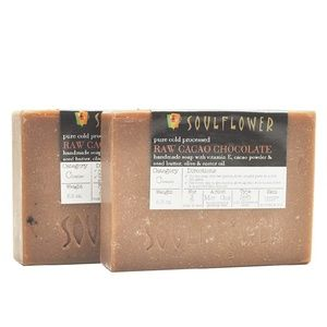 Soulflower Raw Cacao Chocolate Soap - 2 Bars